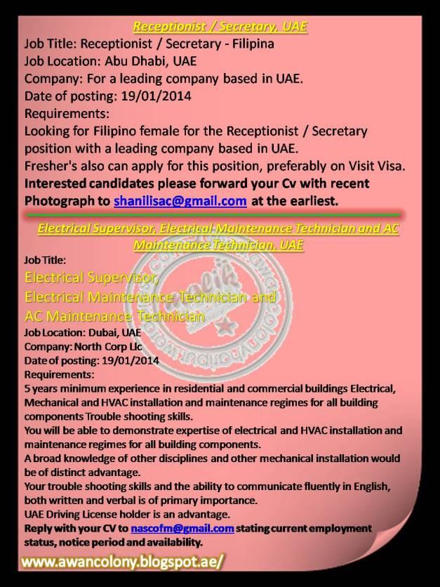 Add for the Job Receptionist / Secretary – Abu Dhabi Electrical